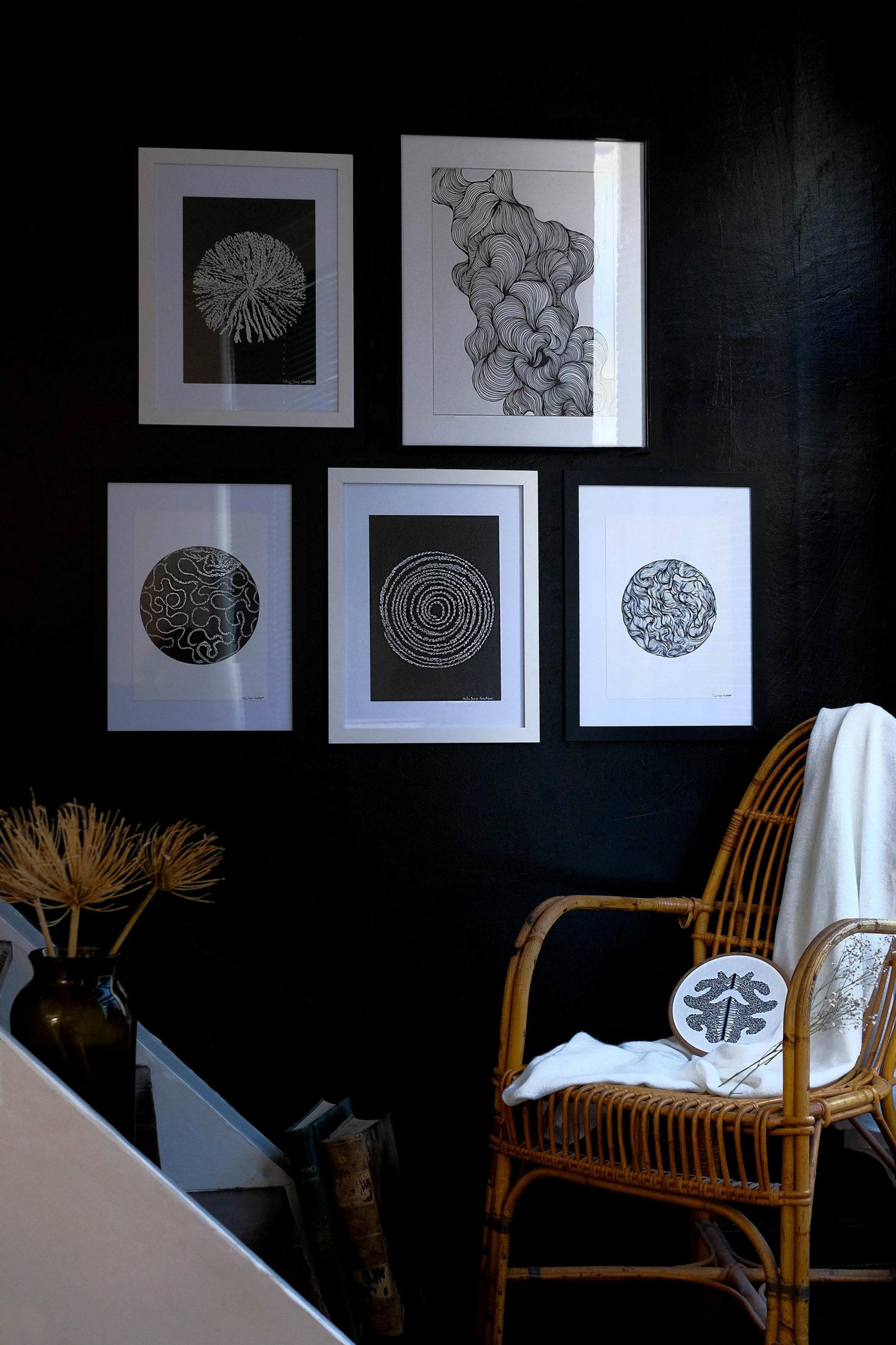 Composition_murale_mur_noir_portrait_songe_graphique